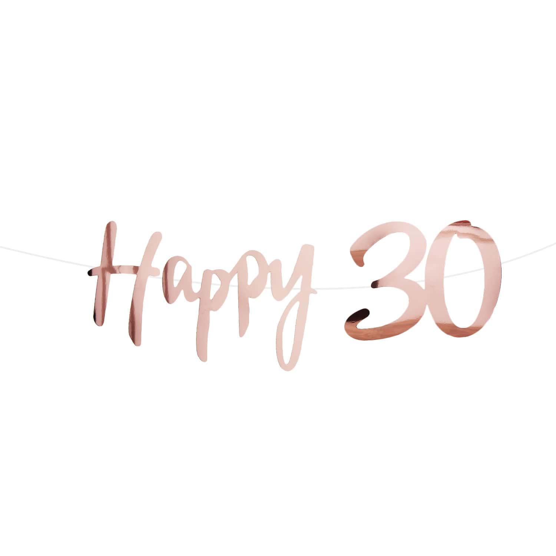 Happy 30 Girlande Banner 15m Geburtstag Jubiläum Party Feier Deko Rose Gold