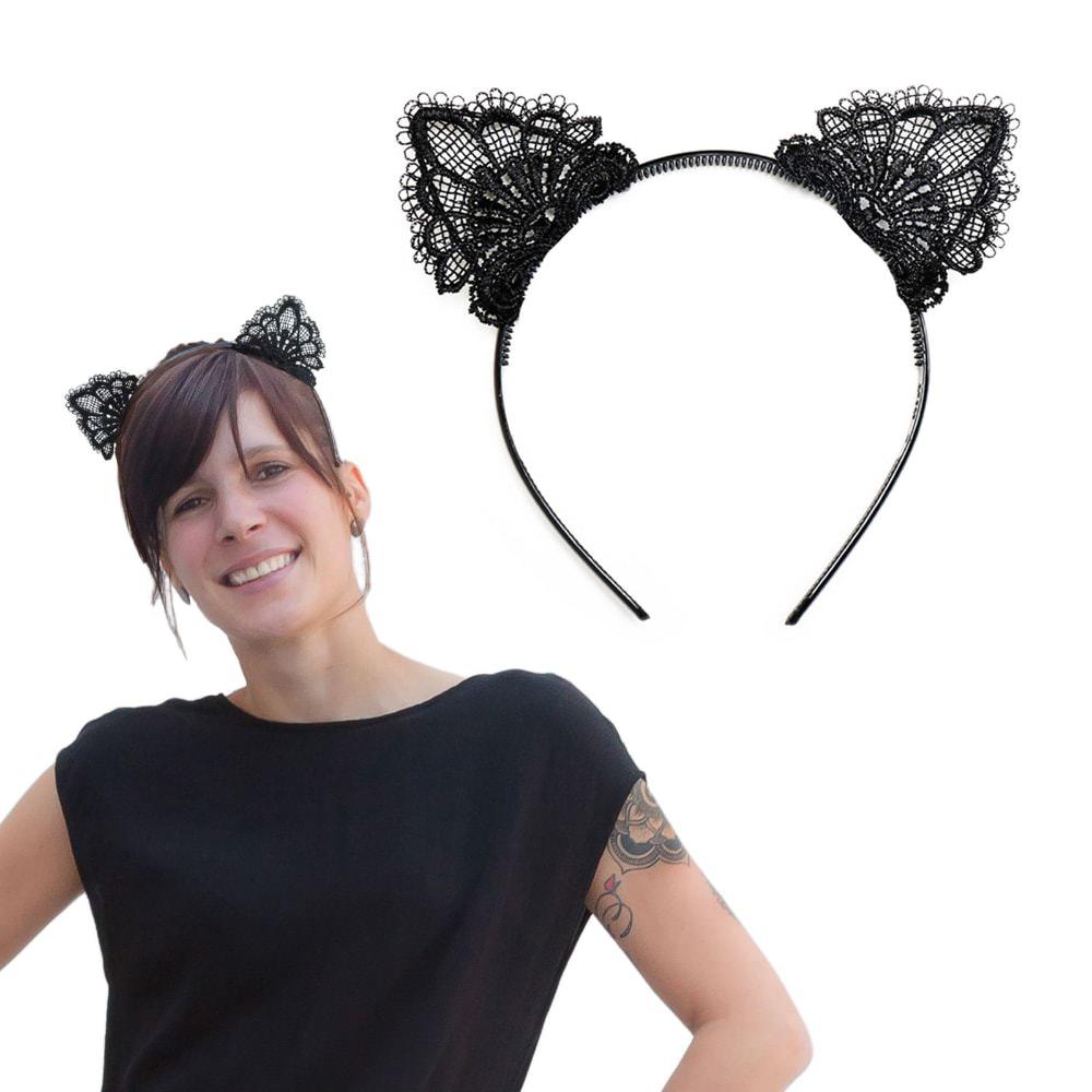 Haarreif Haarreifen Katzenohren Mit Spitze Kostum Fasching Karneval