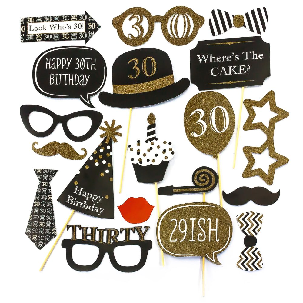 20 fotorequisiten fotoaccessoires 30 geburtstag party feier masken foto props. Black Bedroom Furniture Sets. Home Design Ideas