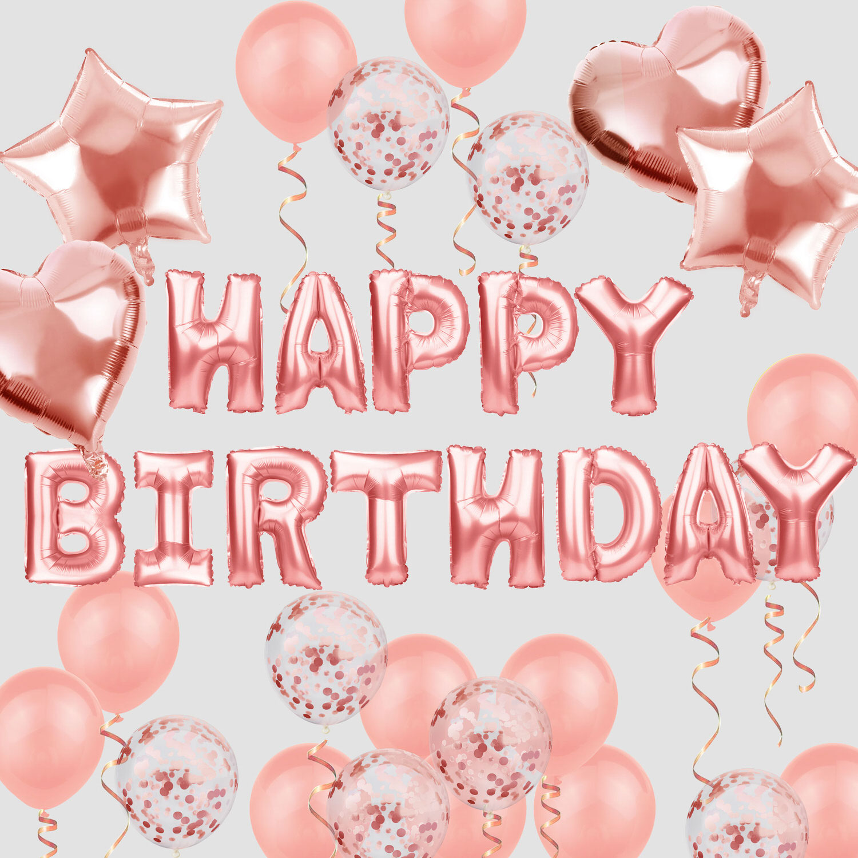 Geburtstag Party Deko Set   Happy Birthday + Herzen Folien Luftballons  Konfetti Ballons roségold