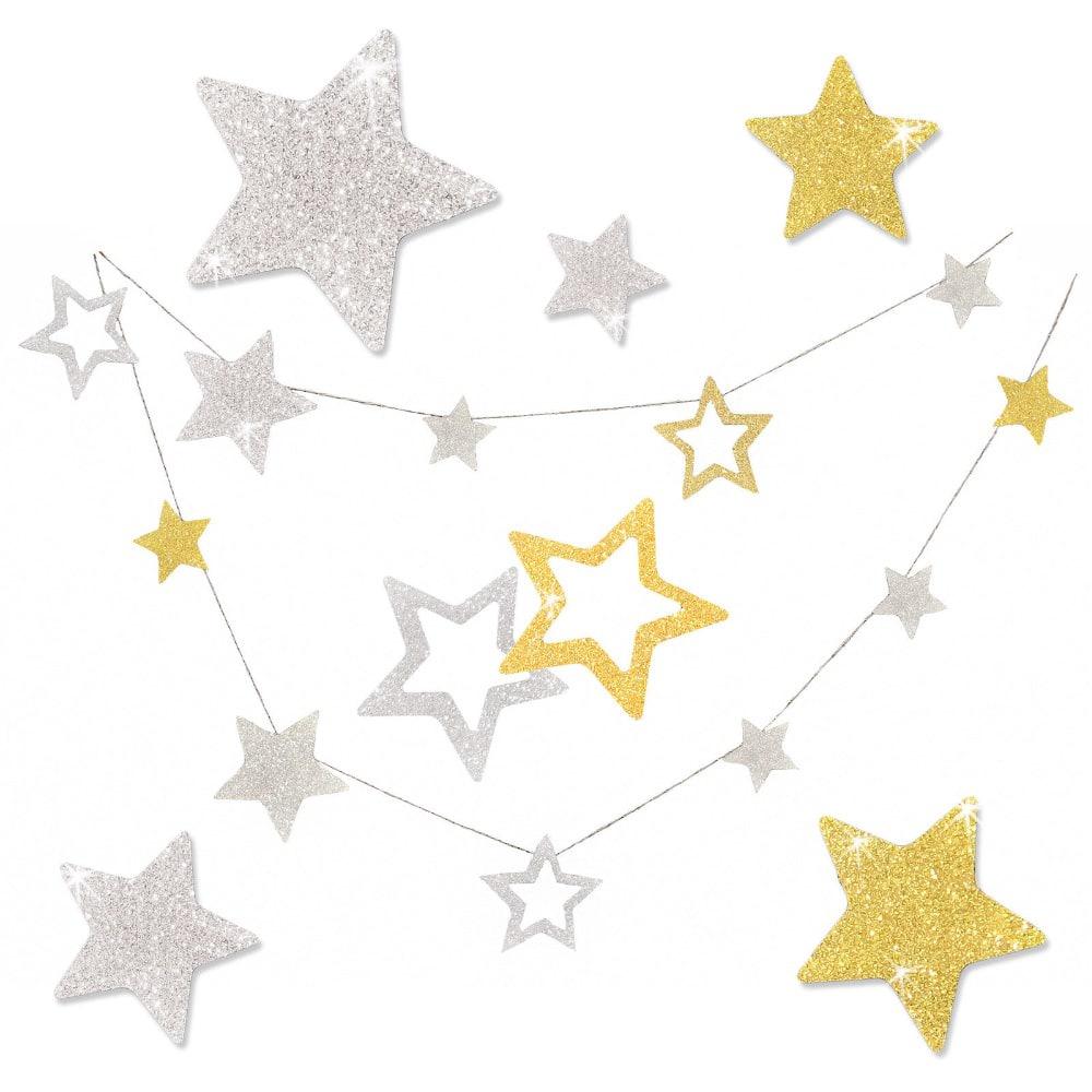 Deckenhänger Girlande Sterne Weihnachten Weihnachts Deko - silber-gold