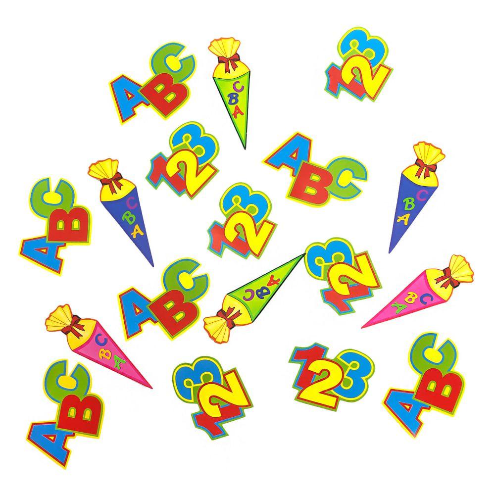 Abc Zuckertute 123 Zahlen Buchstaben Konfetti Streu Deko 18 Stk Bunt