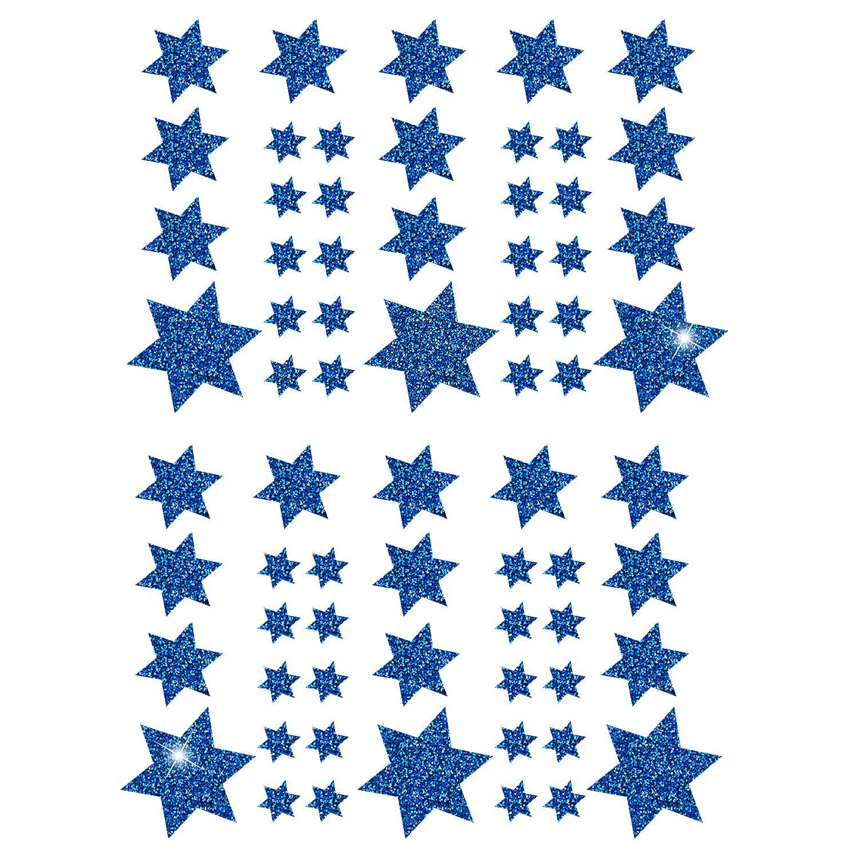 68 Sterne Sticker Aufkleber Glitzernd Funkelnd Weihnachtsdeko Blau