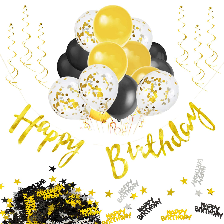 Happy Birthday Geburtstag Party Deko Set Girlande Konfetti Ballons