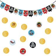 Piraten Party Kindergeburtstag Deko Set - Piraten Girlande + Gold Münzen Konfetti
