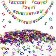 Schuleinführung Einschulung Schulanfang Deko Set - Girlande, ABC Konfetti Sticker