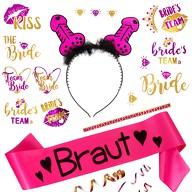 JGA Hochzeit Accessoire Set - Braut Schärpe + Penis Haarreif + Bride - Team Bride Tattoos