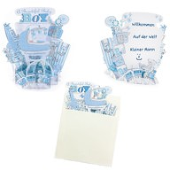 3D Baby Shower Karte Its a Boy Geburt Pop Up Karte Umschlag - blau