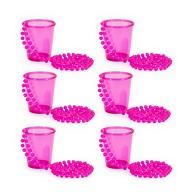 6x Becher mit Kette zum Umhängen Shotgläser Halskette JGA Party Fasching Karneval Pink
