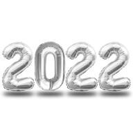 Folien Luftballon Zahl 2022 Silvester Neujahr Party Deko Ballons Zahlenballons - silber