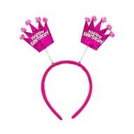 Haarreifen Happy Birthday Haarreif mit wackelnden Pailletten Kronen Kinder Geburtstag - pink