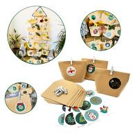 DIY Adventskalender Set - 24 Tüten + 24 Zahlen Sticker Aufkleber + 24 weiße Klammer für Advent Weihnachten