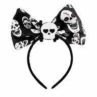 Schleife Haarreifen mit Totenkopf Motiven Haarreif Halloween Karneval Fasching Party