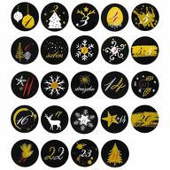 24 Adventskalender Sticker Zahlen Aufkleber Weihnachten Basteln Weihnachtsdeko - schwarz gold