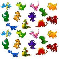24 Dino Sticker Dinosaurier Aufkleber Kinder Geburtstag Spielen Basteln