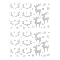 78 Weihnachts Sticker Xmas Glitzer Aufkleber für Weinachten Rentier uvm. Weihnachtsdeko - silber