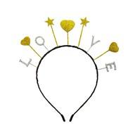 Haarreif Haarreifen LOVE mit Glitzereffekt Herzen und Sternen Haarreif für JGA Valentinstag