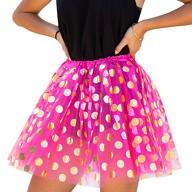 Tutu Tütü Damen Rock Tüllrock Kostüm Accessoire Fasching Karneval 60 cm - 116 cm pink gold gepunktet