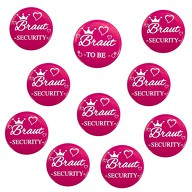 Button Set JGA Junggesellinnenabschied - 1x Braut To Be / 9x Braut Security