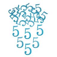 Konfetti Zahl 5 Tisch Deko für Kinder Geburtstag Junge Jubiläum 24 Stk. blau mit Glitzereffekt