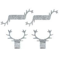 4 Filz Serviettenhalter mit Hirsch Geweih für Weihnachten Tisch Deko Serviettenringe - grau