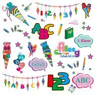 Kinder Sticker Set Schule Schuleinführung Schulanfang Einschulung Aufkleber