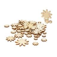 60 Holz Blumen Holzdeko Tischdeko Streudeko für Ostern Geburtstag JGA Hochzeit Basteln Echtholz