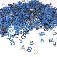 ABC Alphabet Buchstaben Konfetti Streudeko Tisch Deko für Schuleinführung Geburtstag Feier Party - blau silber