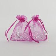 Organzasäckchen Organzabeutel Schmuckbeutel pink Schmetterlinge