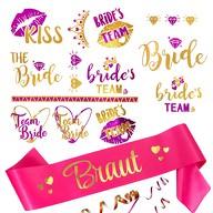 JGA Hochzeit Accessoire Set - Braut Schärpe + Bride - Team Bride Tattoos pink gold