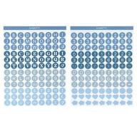 216 Buchstaben Zahlen Aufkleber Zeichen Symbole Sticker + Herzen Blumen für Einschulung uvm. - blau