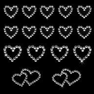 16 Herz Sticker Strass Steine Aufkleber Hochzeit Deko - silber