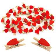 50 Mini Wäscheklammern Holz Miniklammern kleine Deko Klammern - Herzen