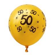 10x Luftballons Zahl 50 Geburtstag Jubiläum Ballons - gelb schwarz