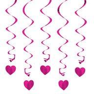 5 Girlande Spiral Deckenhänger mit Herz - pink