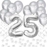 25. Geburtstag Silberhochzeit Deko Set - Luftballons Zahl 25 + Konfetti + Spiral Girlanden