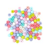 100 Perlen zum Auffädeln Basteln für DIY Schmuck Armbänder Ketten Haarschmuck Deko Mädchen Kinder rund