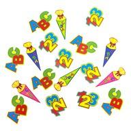 ABC Zuckertüte 123 Zahlen Buchstaben Konfetti Streu Deko 18 Stk - bunt