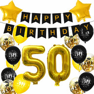 50. Geburtstag Party Deko Set - Happy Birthday Girlande + Zahl 50 Ballons + Konfetti Luftballons