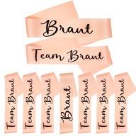 Schärpe Braut + Team Braut Schärpen Set JGA Junggesellinnenabschied Hen Party Bride to Be lachsfarben