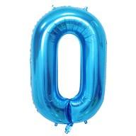 1x Folien Luftballon mit Zahl 0 Kinder Geburtstag Jubiläum Party Deko Ballon blau