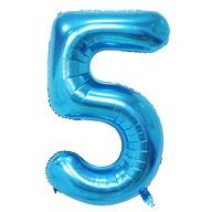 1x Folien Luftballon mit Zahl 5 Kinder Geburtstag Jubiläum Party Deko Ballon blau