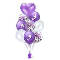 Meerjungfrau Konfetti Luftballon Set mit Herzen 9 Stk Kinder Geburtstag Party lila weiß
