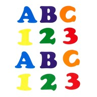 ABC 123 Holz Buchstaben Zahlen Holzdeko Schuleinführung Einschulung Schulanfang Junge Mädchen - bunt