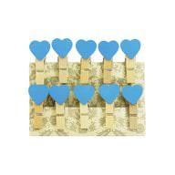 10 Mini Wäscheklammern Holz Miniklammern Deko Klammern - blaue Herzen