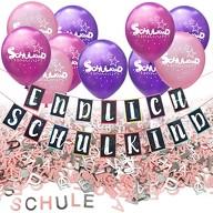 Schuleinführung Schulanfang Einschulung Deko Set - Endlich Schulkind Girlande Luftballons Konfetti