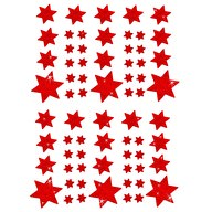 68 Sterne Sticker Aufkleber Glitzernd Funkelnd Weihnachtsdeko - rot