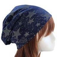 Long Beanie Jersey Mütze Slouch XXL Mützen - Sterne blau-grau
