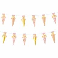 Zuckertüten Girlande Banner Hänge Deko Schuleinführung Schulanfang Einschulung Mädchen rosa gold