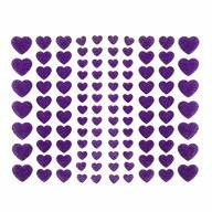 106 Herz Sticker Aufkleber Set mit Glitzer Scrapbooking Basteln Hochzeit Valentinstag Deko - lila